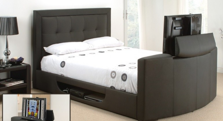The Bowburn Leather Tv Bed in Dark Brown