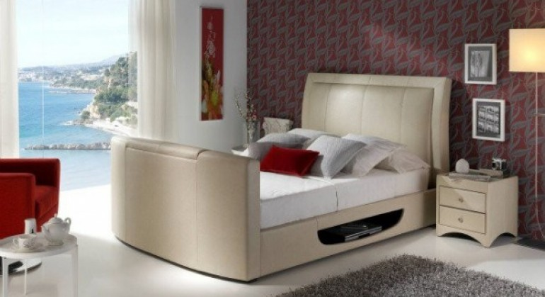 The Stanton TV Bed in Ivory
