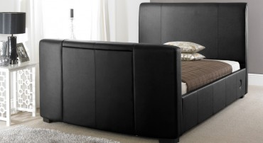 Artisan Leather TV Bed in Black Front View