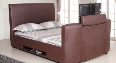Artisan TV Bed in Brown Leather Front Angle View