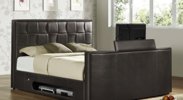 Athena Leather TV Bed in Brown