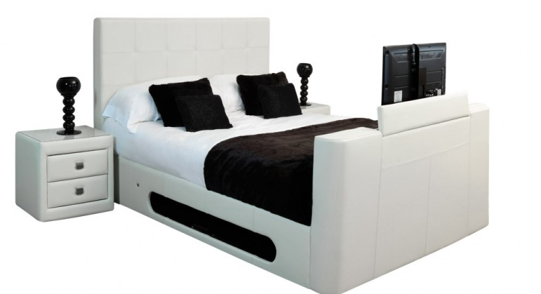 Nova Leather TV Bed in Ivory