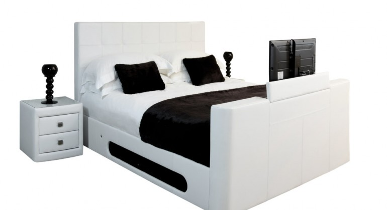 Nova Leather TV Bed in White